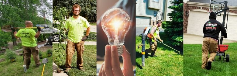 Several pictures of Priority One Lawn Care's team working on lawns and landscapes.
